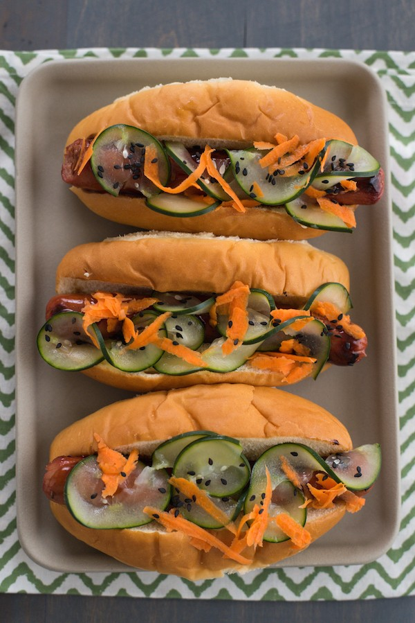 Teriyaki Hot Dogs with Pickled Vegetables - Shake up your boring hot dog routine with these Asian-inspired dogs!   foxeslovelemons.com