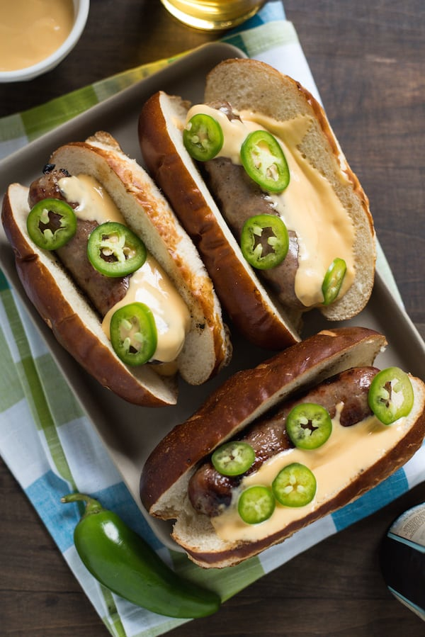 Beer Brats with Beer Queso