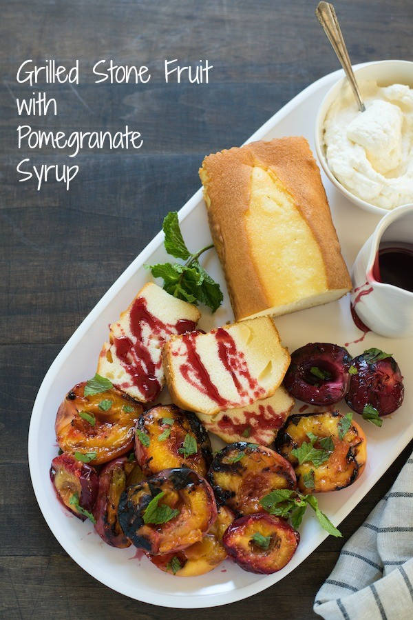 Grilled Stone Fruit with Pomengranate Syrup - Put together this lovely summer dessert platter, and let your party guests serve themselves! | foxeslovelemons.com