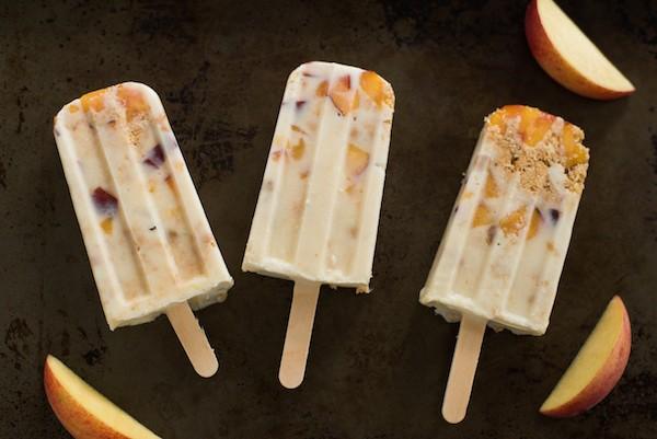 Peach Pie Ice Cream Bars - An irresistible combination of fresh peaches, crumbled pie crust and creamy frozen custard.   foxeslovelemons.com