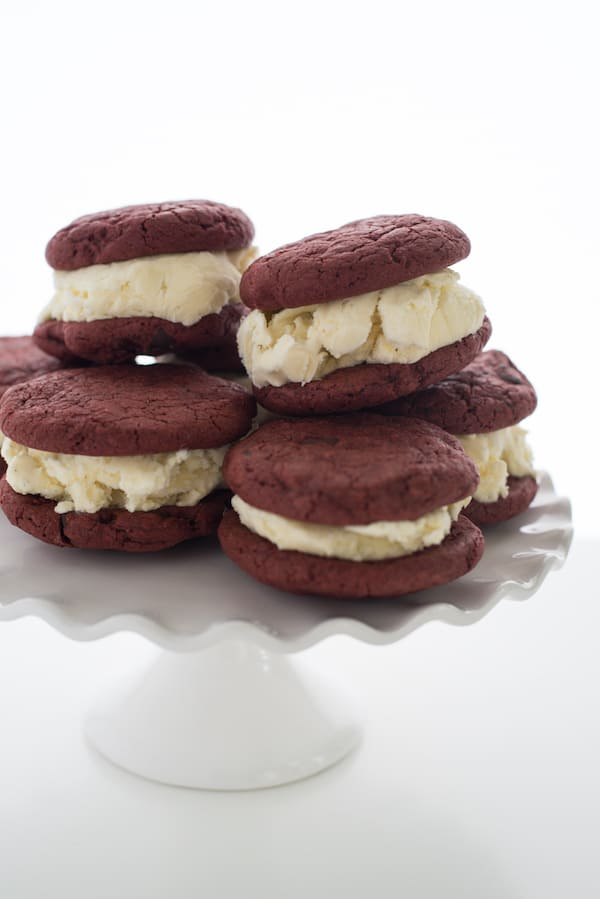Red Velvet Chocolate Chip Cookie Ice Cream Sandwiches