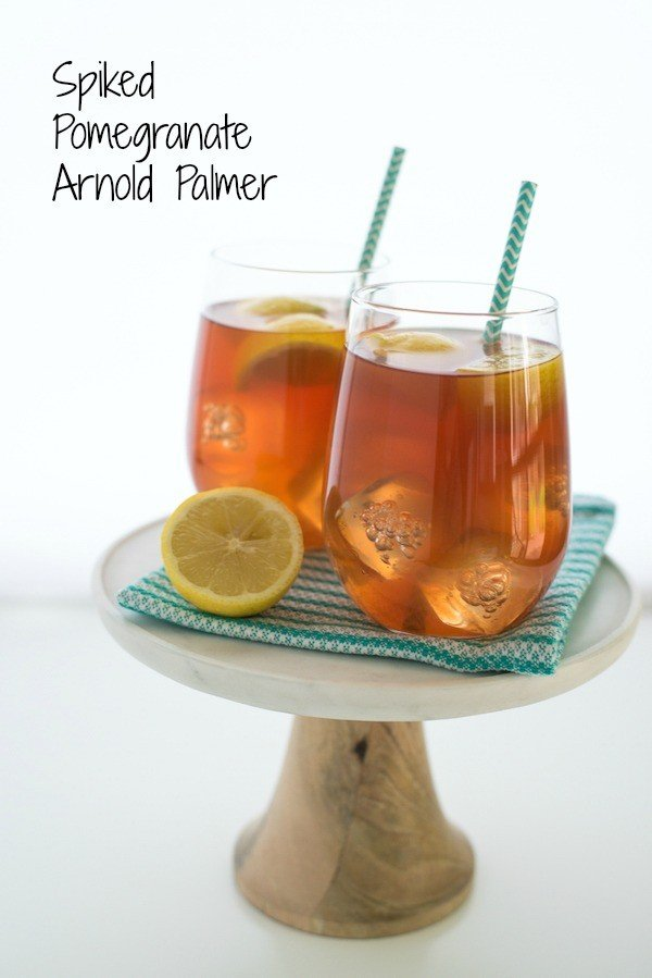 Spiked Pomegranate Arnold Palmer - A twist on the classic iced tea/lemonade drink, spiked with pomegranate liqueur.   foxeslovelemons.com
