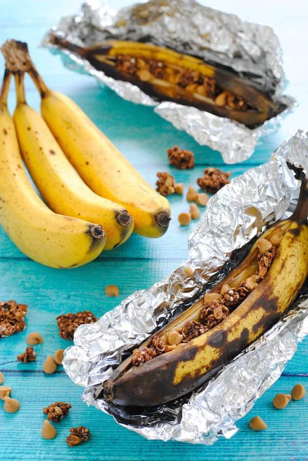 Peanut Butter & Granola Grilled Banana Boats