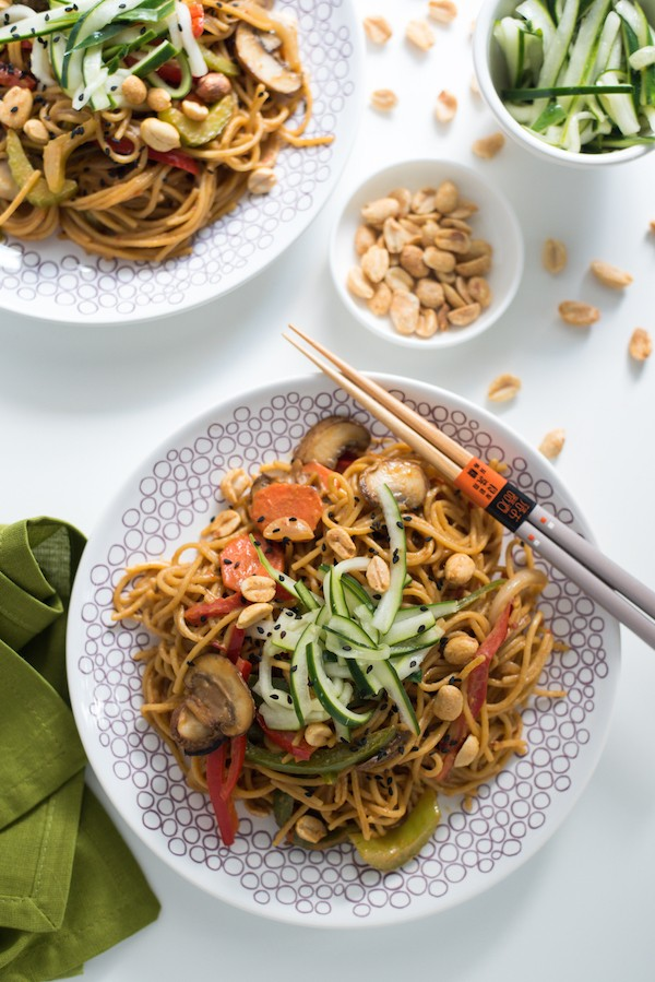 Spicy Peanut Spaghetti Stir-Fry with Ginger Pickled Cucumber - A one-pot meal with huge Asian flavors! | foxeslovelemons.com