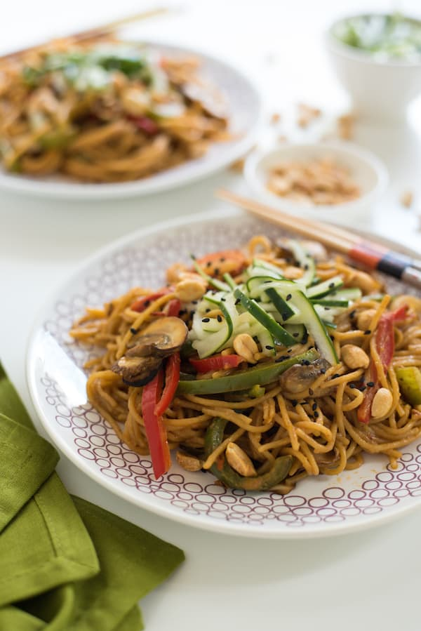 Spicy Peanut Spaghetti Stir-Fry with Ginger Pickled Cucumber