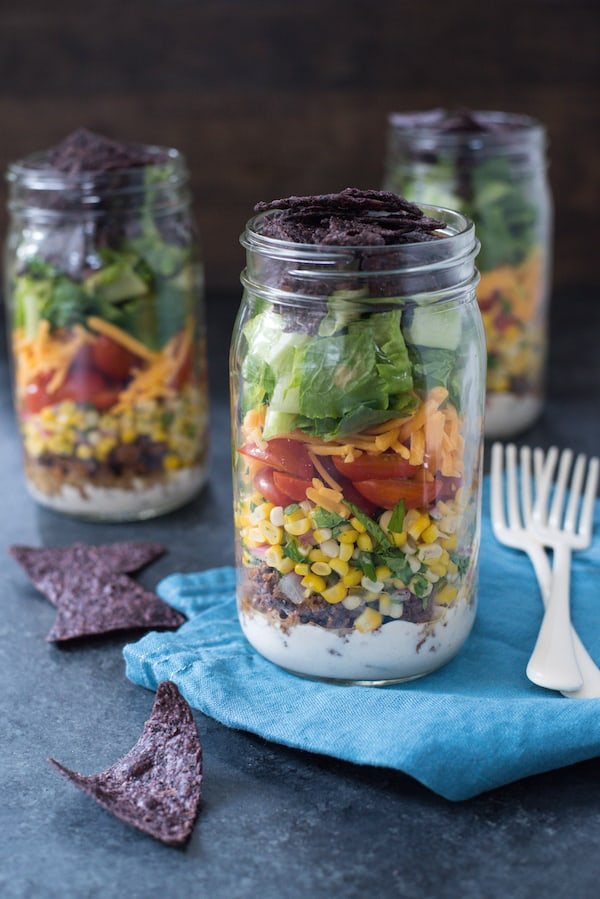 Taco Salad Jars with Green Chile Yogurt Dressing