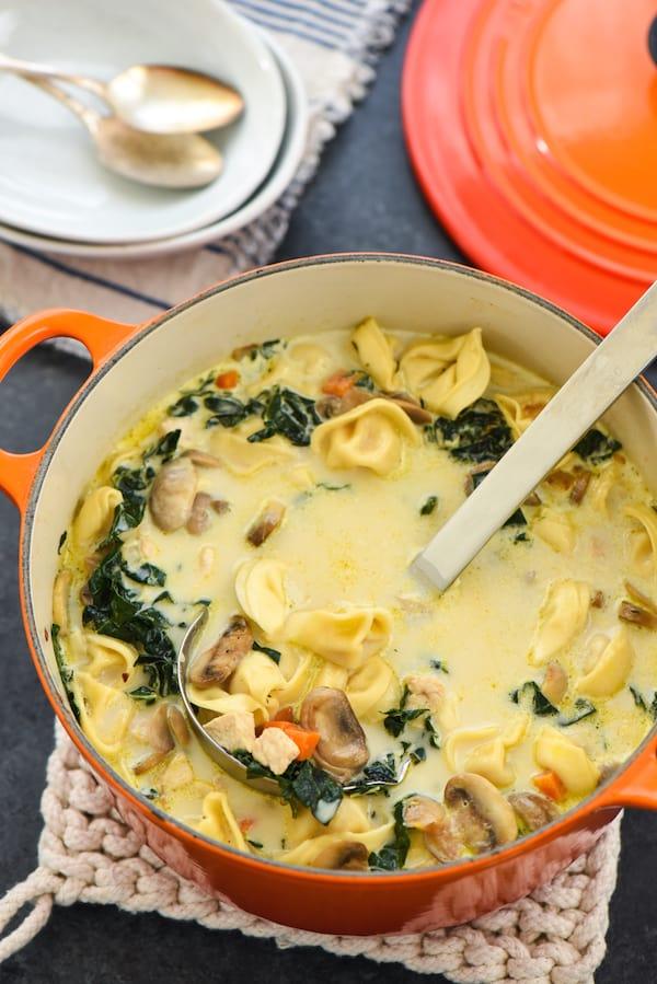 Creamy Chicken Tortellini Mushroom Soup Foxes Love Lemons