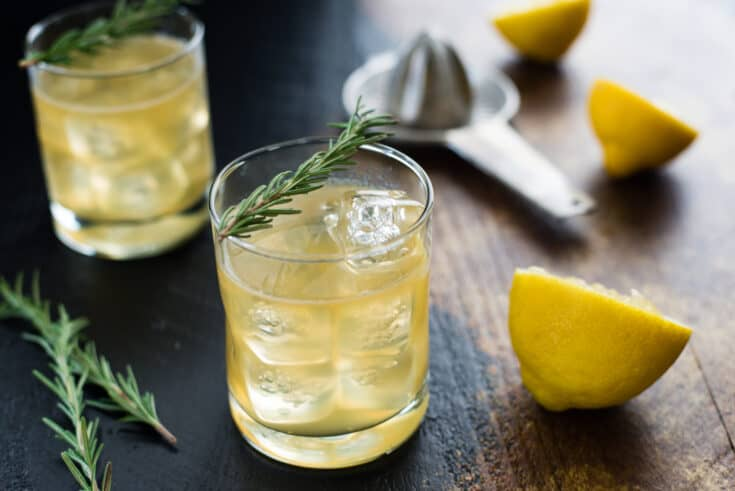 Lemon & Rosemary Bourbon Sour Cocktail