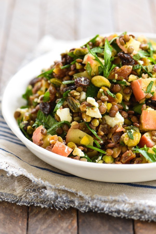 Warm Sautéed Apple & Lentil Salad - A Middle-Eastern inspired vegetarian side dish packed with flavor! | foxeslovelemons.com