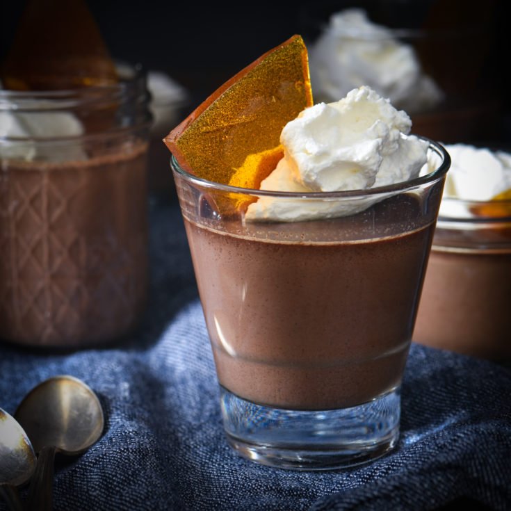 Chocolate Pots de Crème with Vanilla Bean Brittle