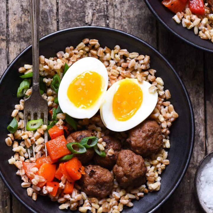 Make-Ahead Breakfast Grain Bowls with Turkey Sausage Meatballs