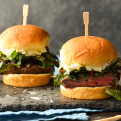 Steak Sliders with Artichoke Spread & Horseradish Greens - Little sandwiches, huge flavor! Perfect for a casual party or weeknight dinner. | foxeslovelemons.com