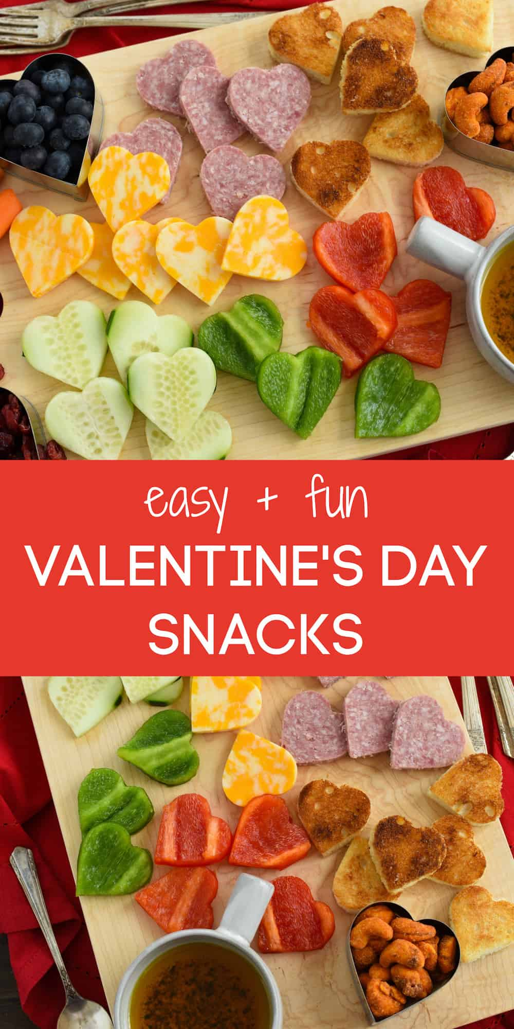 Grab a heart-shaped cookie cutter and put together these easy and fun Valentine's Day Snacks for your kids, friends, or sweetheart. | foxeslovelemons.com