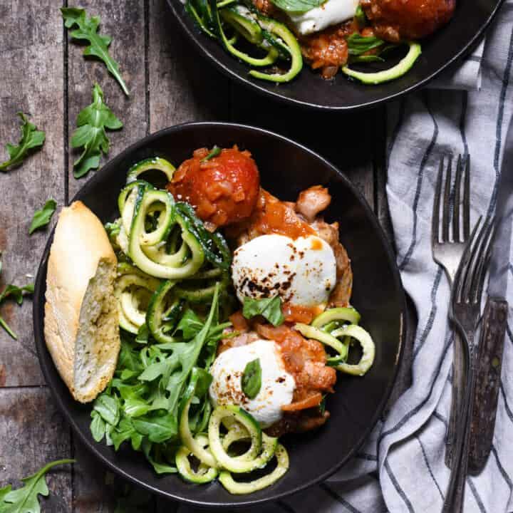 Caprese Braised Chicken with Cacio e Pepe Zucchini Noodles