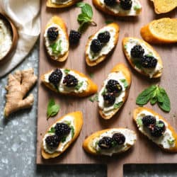 Ricotta Crostini with Gingered Blackberries - A sweet and savory appetizer or light dessert. | foxeslovelemons.com