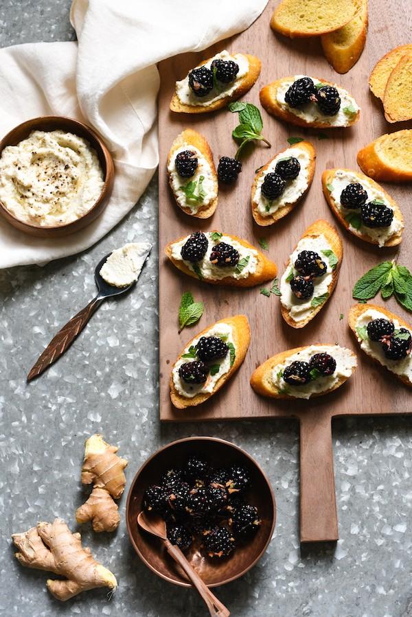 Ricotta Crostini with Gingered Blackberries - A sweet and savory appetizer or light dessert. | foxeslovelemons.com