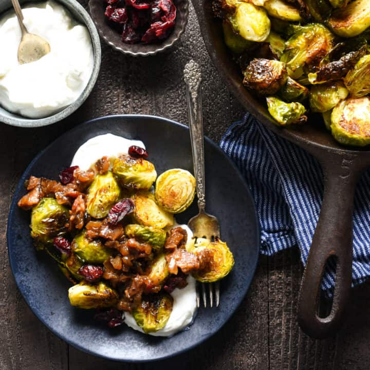 Roasted Brussels Sprouts with Greek Yogurt & Bacon Jam