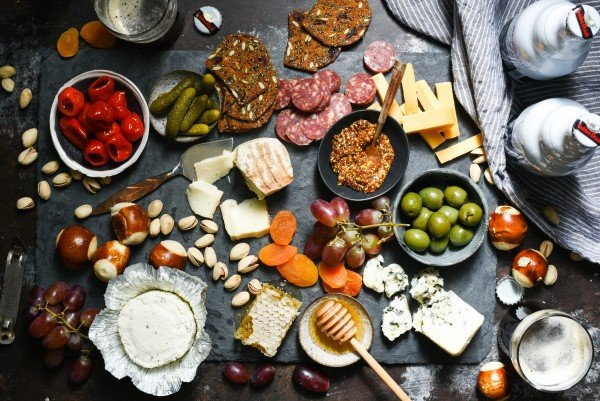 Cheese Board for Beer - All of the salty, spicy, creamy, nutty and pickled items you need to assemble an appetizer spread perfect for a beer-tasting party. | foxeslovelemons.com