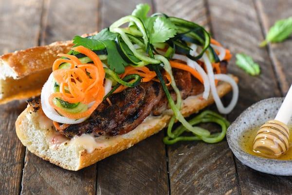 Honey Grilled Pork Banh Mi with Spiralized Pickled Vegetables