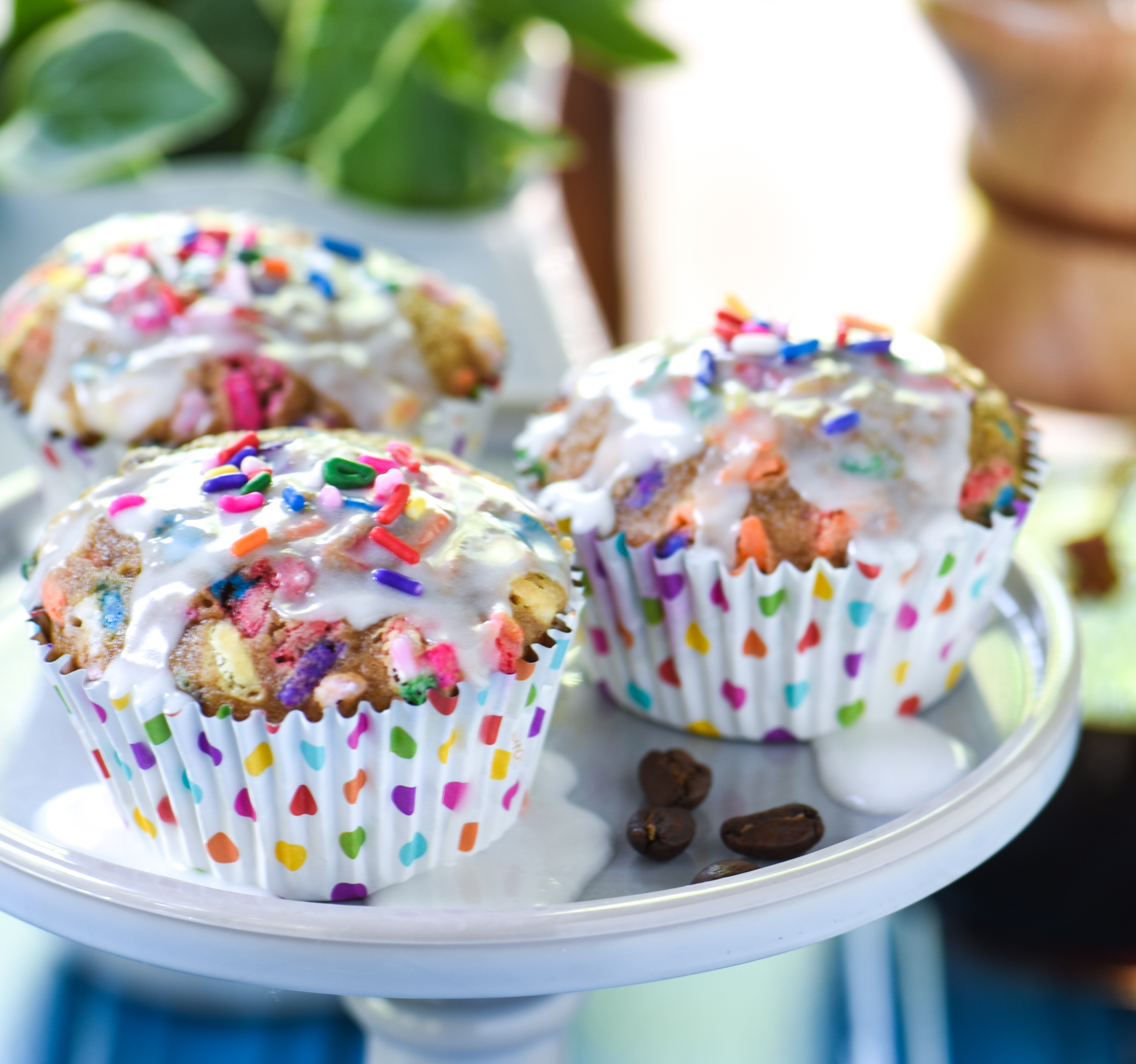 Birthday Cake Latte Muffins Turn A Fun Coffeehouse Treat Into Baked Good With These Espresso Spiked Funfetti