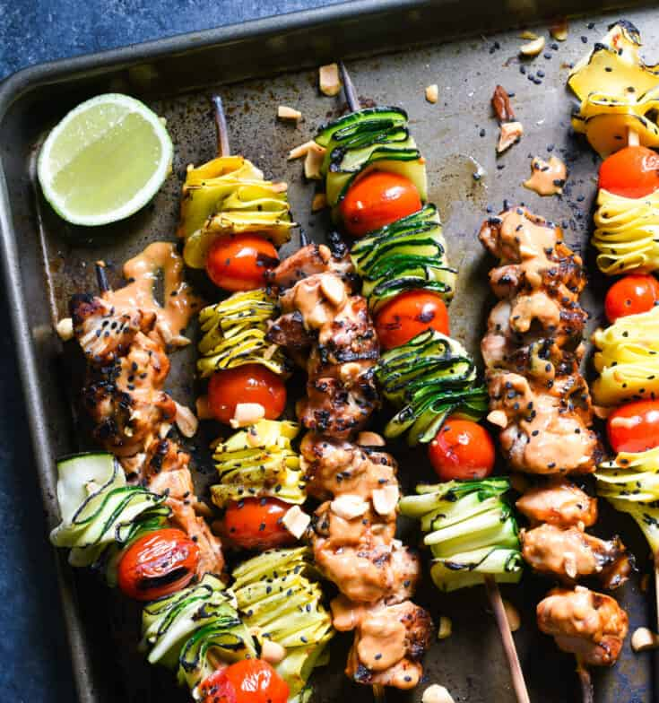 Spicy Peanut Chicken Skewers