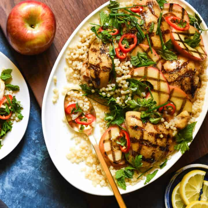 Grilled Chicken & Apples with Couscous