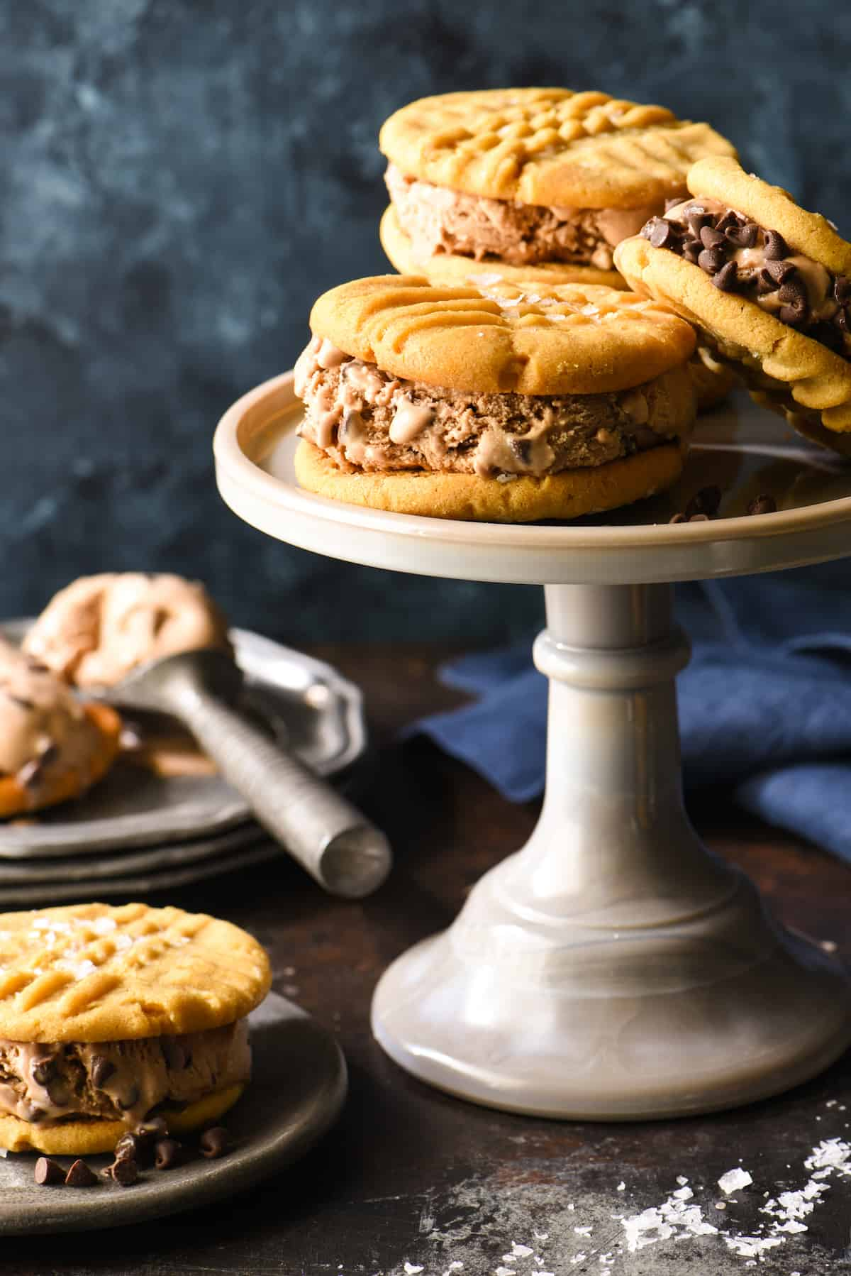 Salted Peanut Butter and Chocolate-Chocolate Chip Ice Cream Sandwiches - Make these for the chocolate and peanut butter lover in your life! Peanut butter cookies are finished with flaky sea salt and then sandwiched with triple-chocolate ice cream. | foxeslovelemons.com