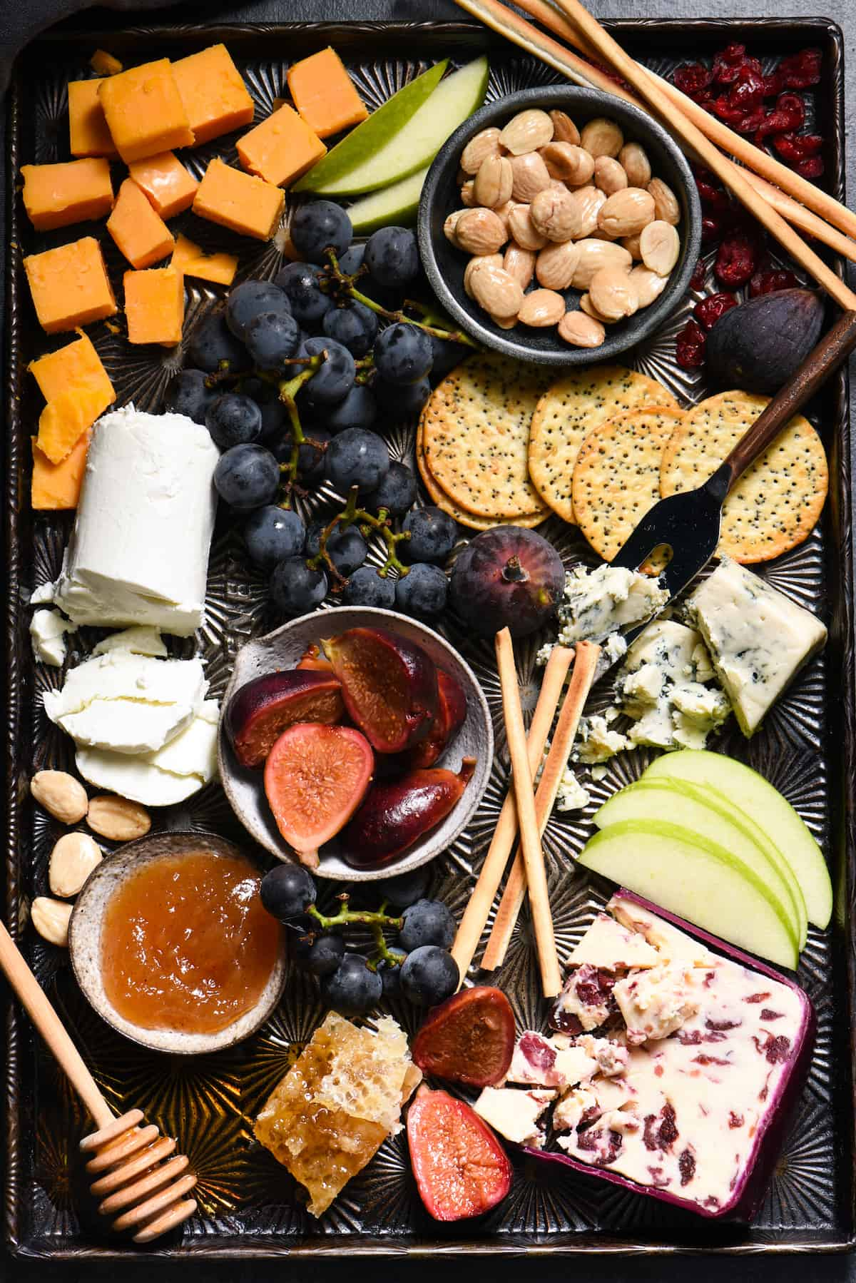 Autumn Cheese Board with Ginger Pickled Figs - An easy entertaining spread that celebrates fall's bounty! | foxeslovelemons.com