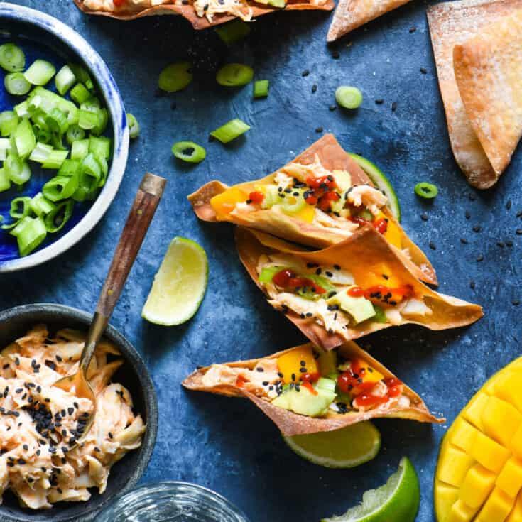 Spicy Crab Wonton Tacos