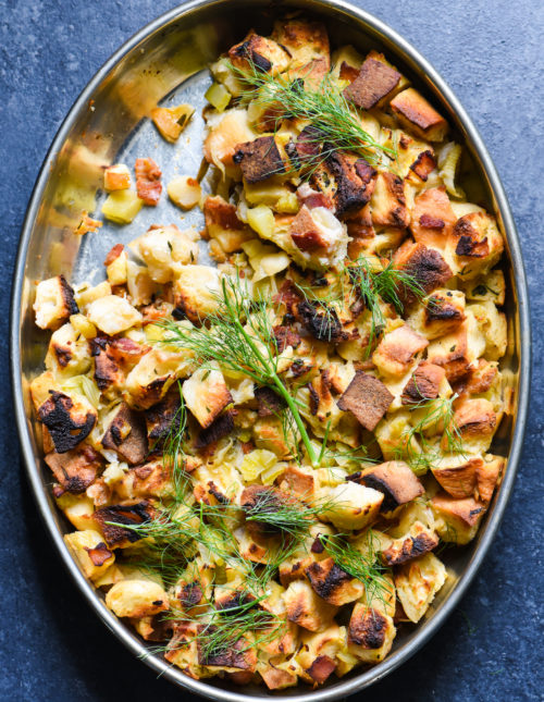 Apple, Bacon & Fennel Stuffing - This bread dressing is the perfect combination of sweet and savory! | foxeslovelemons.com