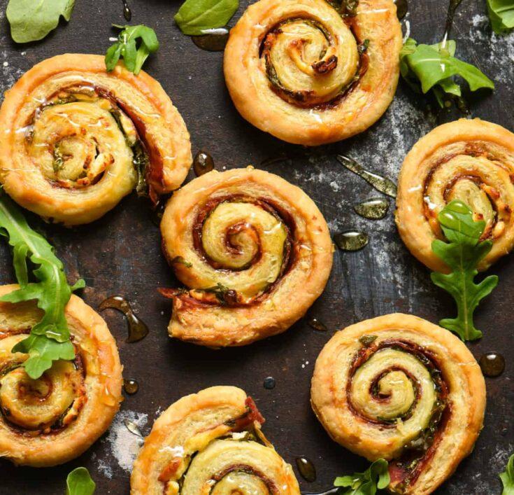 Salami & Goat Cheese Pinwheels with Honey