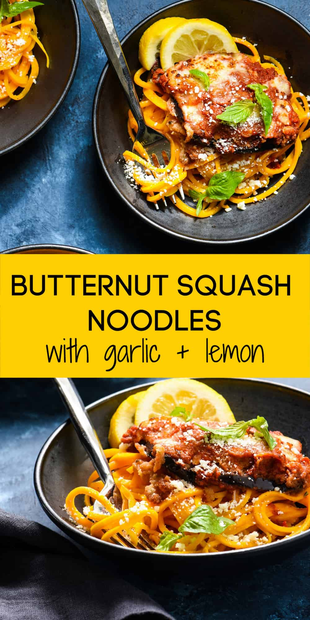 "Garlic & Lemon Butternut Squash Noodles - Turn this seasonal favorite veggie into a healthful ""pasta"" dish the whole family will love! 