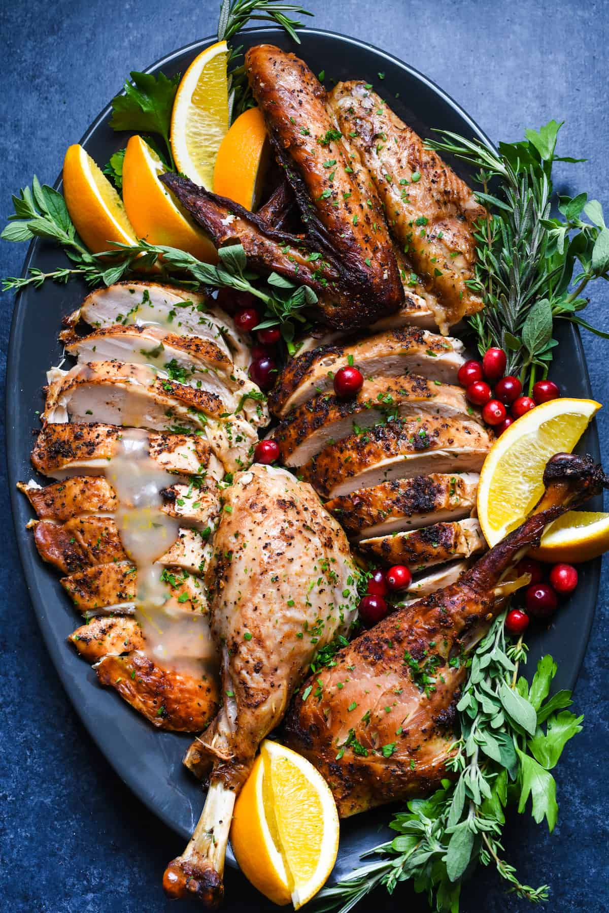 Cajun Turkey with Orange-Oregano Gravy - A stress-free, super flavorful turkey that requires almost zero prepping in advance! | foxeslovelemons.com