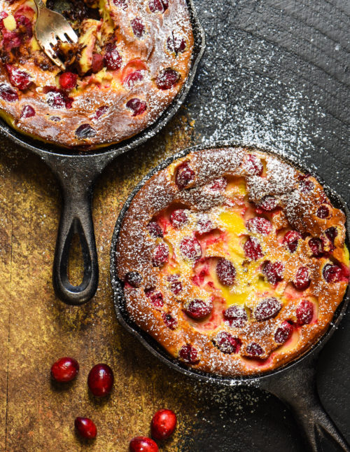 Cranberry Chocolate Chip Clafoutis - Impress your family and friends with this fancy-sounding but super easy (you make the batter in a BLENDER!) custard dessert. | foxeslovelemons.com