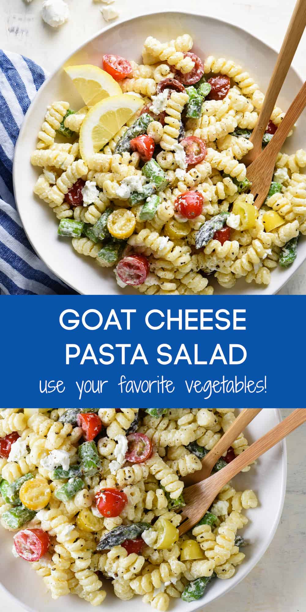 This creamy goat cheese pasta salad is simple to put together and will become a family favorite! Customize with any vegetables you like. | foxeslovelemons.com