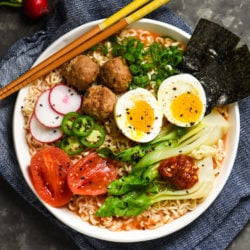 Miso-Tomato Ramen with Meatballs - Make restaurant-quality ramen at home with this versatile and fun recipe! | foxeslovelemons.com