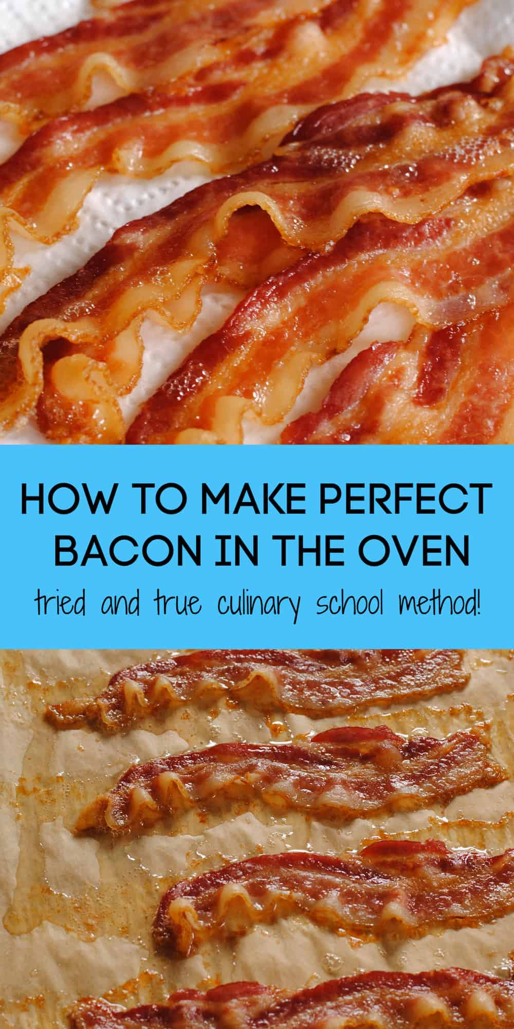 Wondering how to cook bacon in the oven? Follow this two-step culinary school technique to make perfect crispy oven bacon, every time (with no splatters of bacon grease on your stovetop!) | foxeslovelemons.com