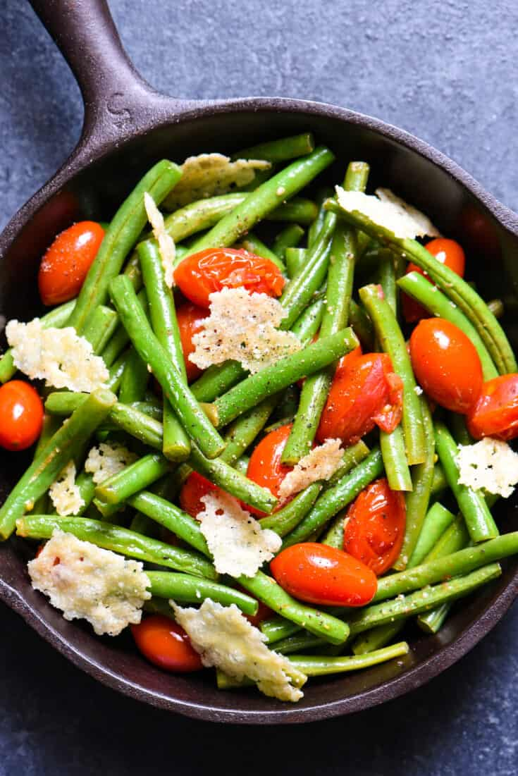 Sautéed Green Beans with Tomatoes & Crispy Parmesan
