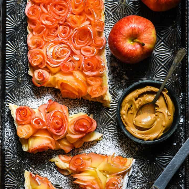 Apple Rose Tart with Peanut Butter Custard