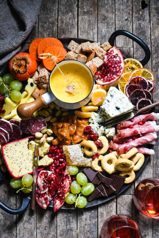 Winter Cheese Board With German Beer Cheese Fondue Foxes