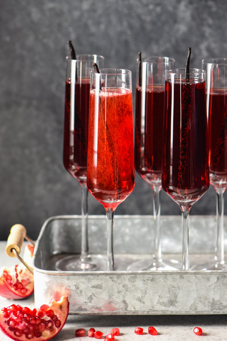 Pomegranate Vanilla Sparkling Wine Cocktails