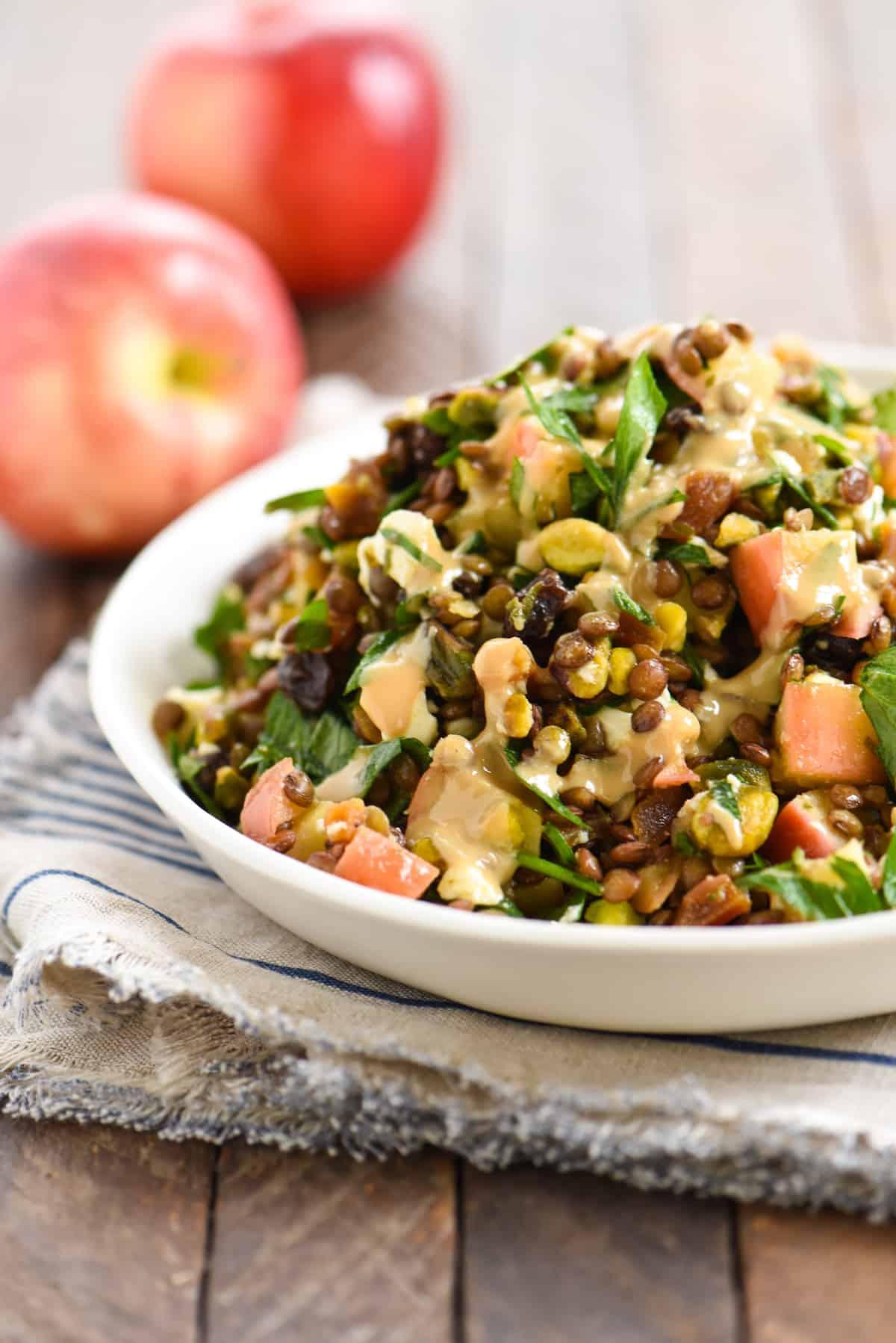 Warm Sautéed Apple & Lentil Salad - A Middle-Eastern inspired vegetarian side dish packed with flavor! | foxeslovelemons.com