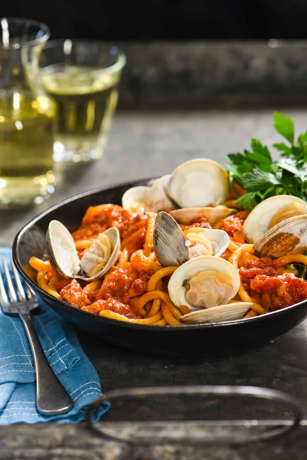 Pasta all'Amatriciana with Clams - A rich, Roman-style pasta that you can easily make at home! | foxeslovelemons.com