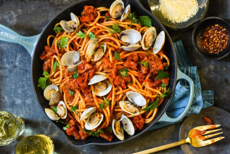 Pasta all'Amatriciana with Clams