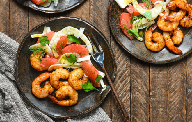 """Roasted Shrimp with Grapefruit and Fennel Salad - Craving a lighter dinner? Pull together some fresh ingredients in about 20 minutes with this """"home chef"""" recipe. 