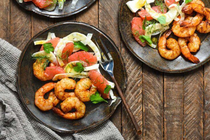 Roasted Shrimp with Grapefruit & Fennel Salad