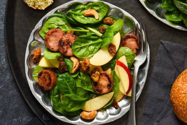 Apple Sausage Salad with Curry Yogurt Dressing