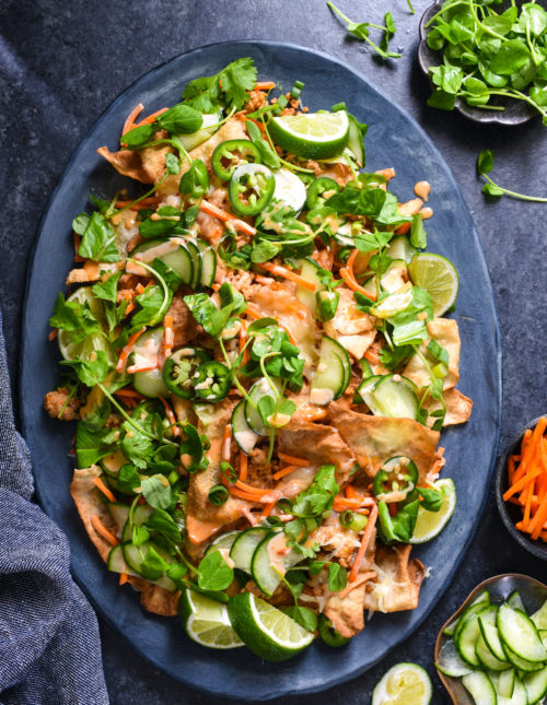 Banh Mi Nachos - A crunchy and colorful version of the classic Vietnamese sandwich. Perfect for a party! | foxeslovelemons.com