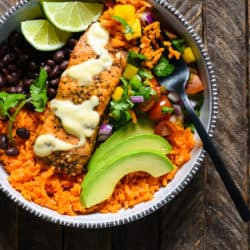 Fish Taco Bowls with Sweet Potato Rice - A colorful, healthful weeknight meal with fresh, bold flavors! | foxeslovelemons.com