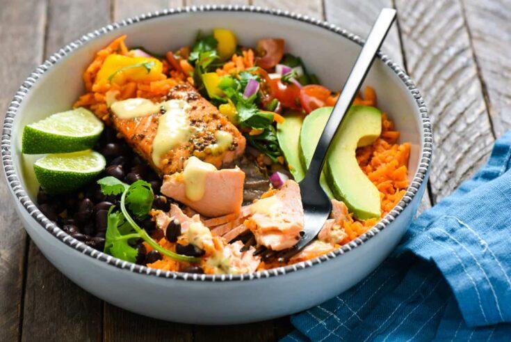 Fish Taco Bowls with Sweet Potato Rice